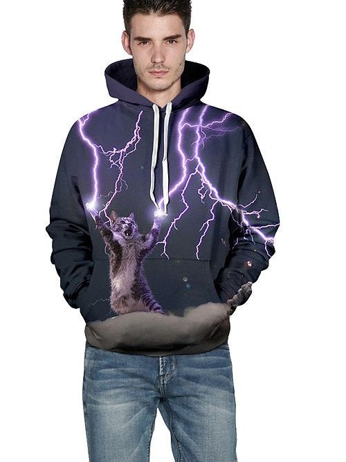 3D Pullover Regular Round Neck Pullover Hoodies