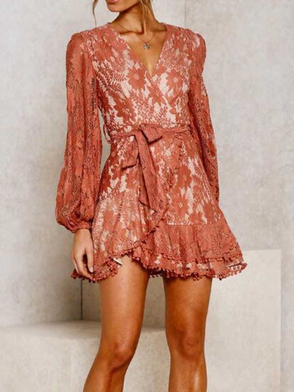 Long Sleeve Lace Above Knee A-Line Spring Dress