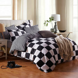 Black and White Check Print Polyester 4-Piece Bedding Sets/Duvet Covers