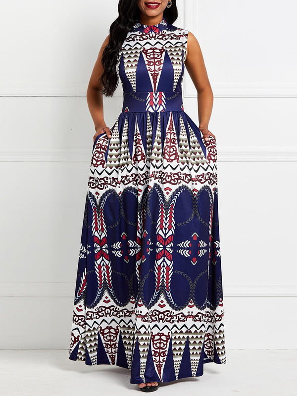 Print Sleeveless Floor-Length Expansion Color Block Dress