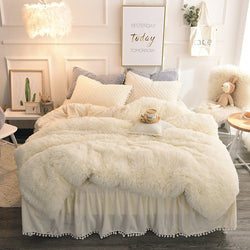 Gonna trapuntata beige stile semplice. 4-Piece Fluffy Bedding Sets / Duvet Cover