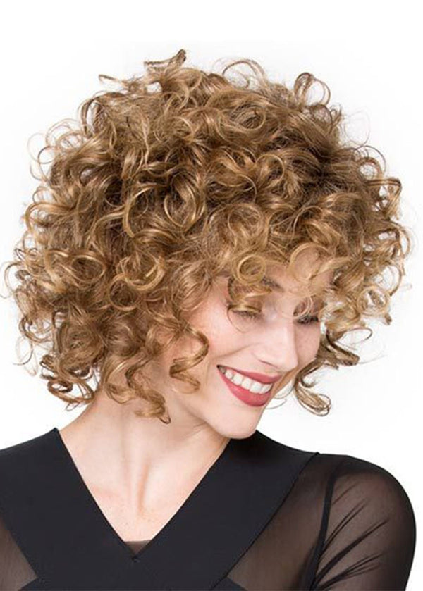 Lace Front Cap Curly Synthetic Hair Women 120% Wigs