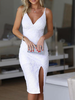 White Sequins Knee-Length Split Spaghetti Strap Bodycon Party Dress