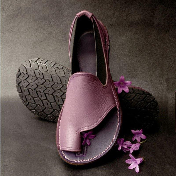 Slip-On Flat With Toe Ring Plain Western Sandals