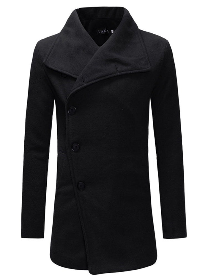 Plain Mid-Length Lapel Casual Slim Trench Coat