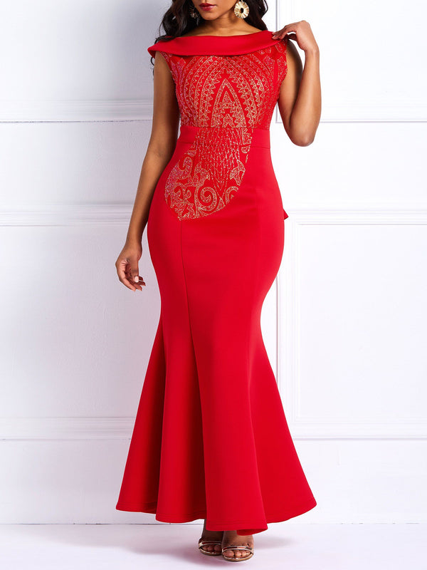 Graceful One Shoulder Sequins Slim Fishtail Maxi Dress