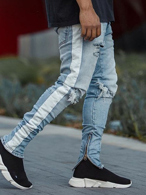 Jeans a vita media coreani a tinta unita color block