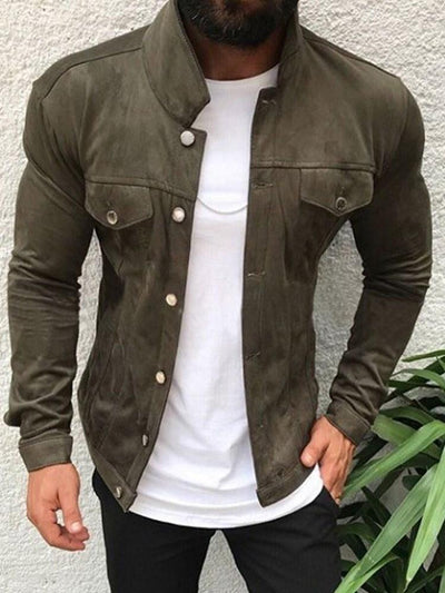 Stand Collar Pocket Plain Slim Fall Jacket