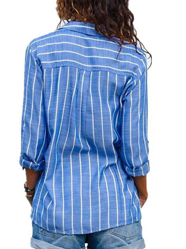 Stripe Lapel Regular Standard Long Sleeve Blouse