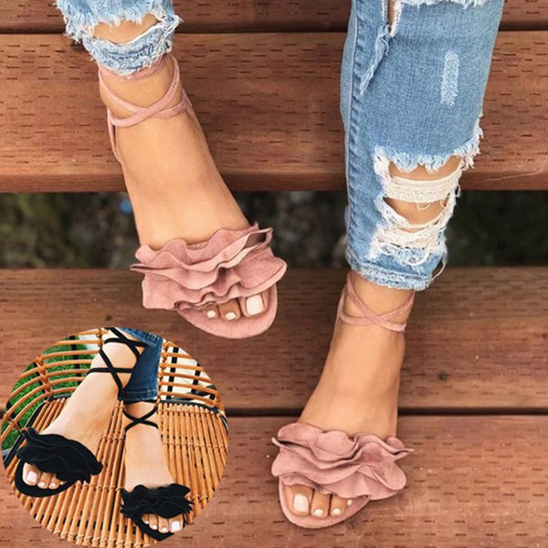 Flat With Lace-Up Open Toe Casual Western Sandals