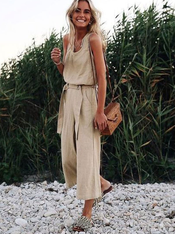 Casual Plain Ankle Length High Waist Wide Legs Jumpsuit
