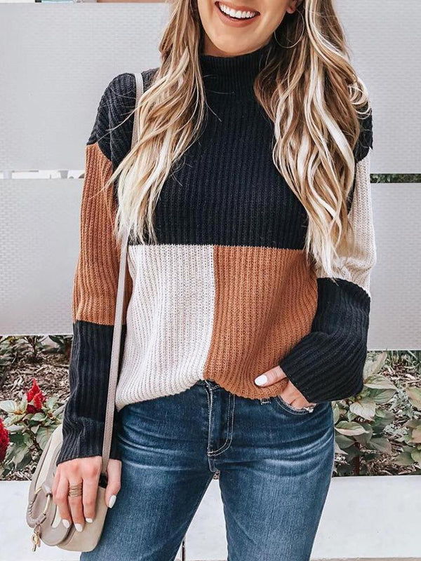 Color Block Stand Collar Women's Long Sleeve Knitwear