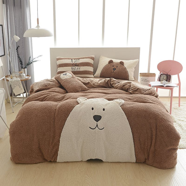 Full Size Cartoon Bear Pattern Coffee Soft 4-Piece Fluffy Set di biancheria da letto / Copripiumino