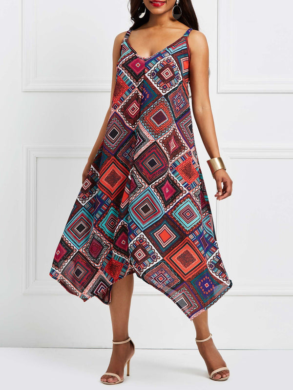 Ankle-Length Sleeveless Print Pullover Casual Dress