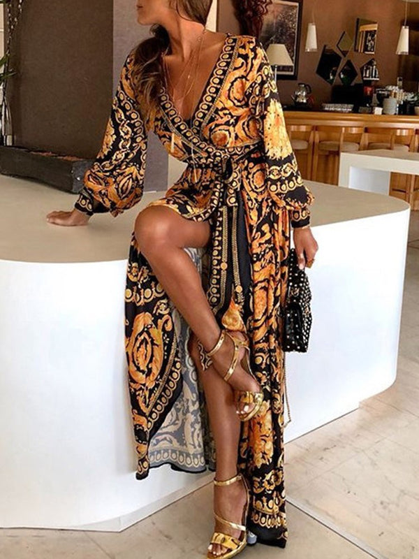 Floor-Length Long Sleeve V-Neck Party/Cocktail Spring Dresses