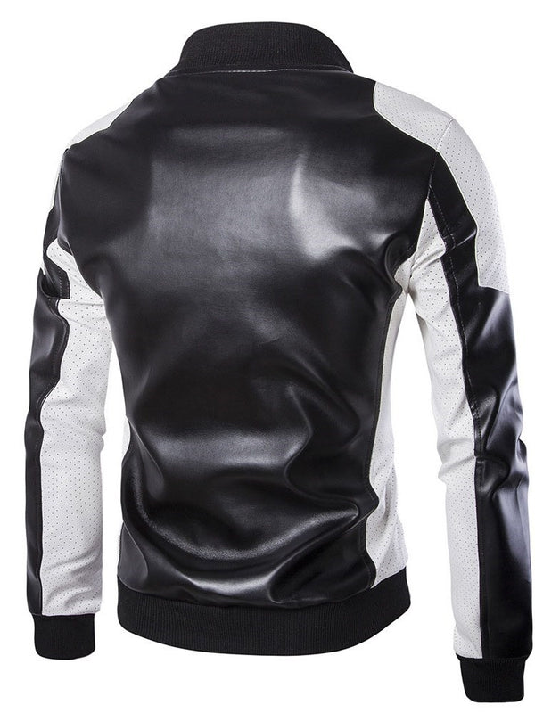 Color Block Stand Collar Standard Slim Zipper Leather Jacket