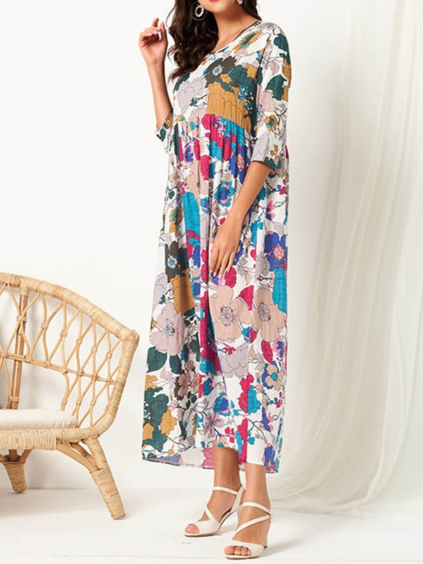 Pleated Mid-Calf Round Neck Floral Pullover Dress