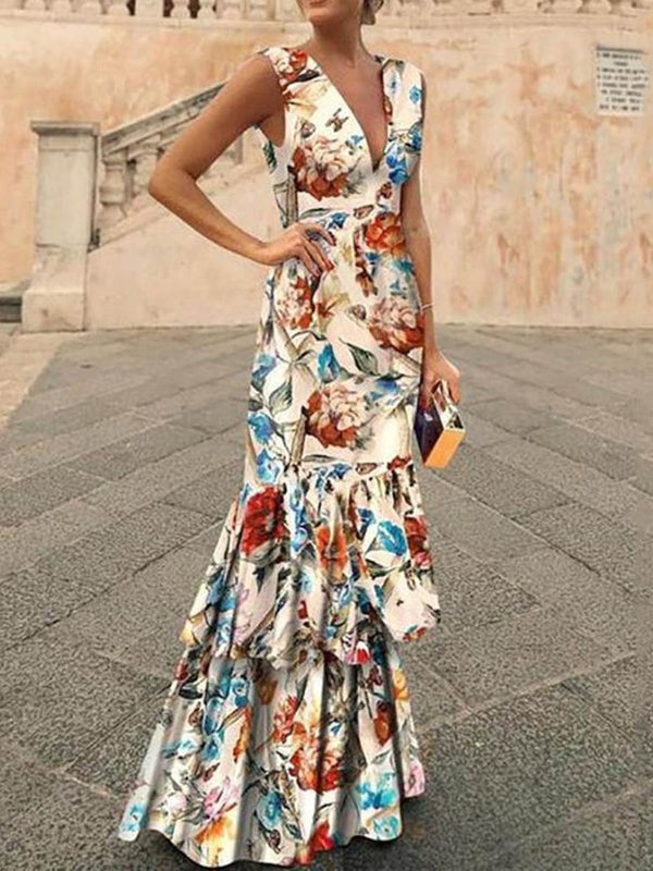 Floor-Length Sleeveless Print Summer Floral Dress