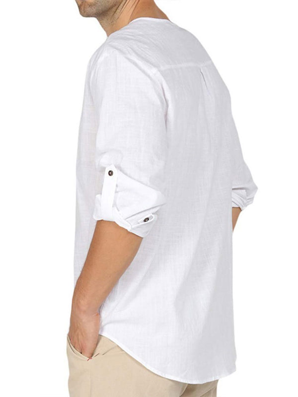 Button Plain European Single-Breasted Loose Shirt