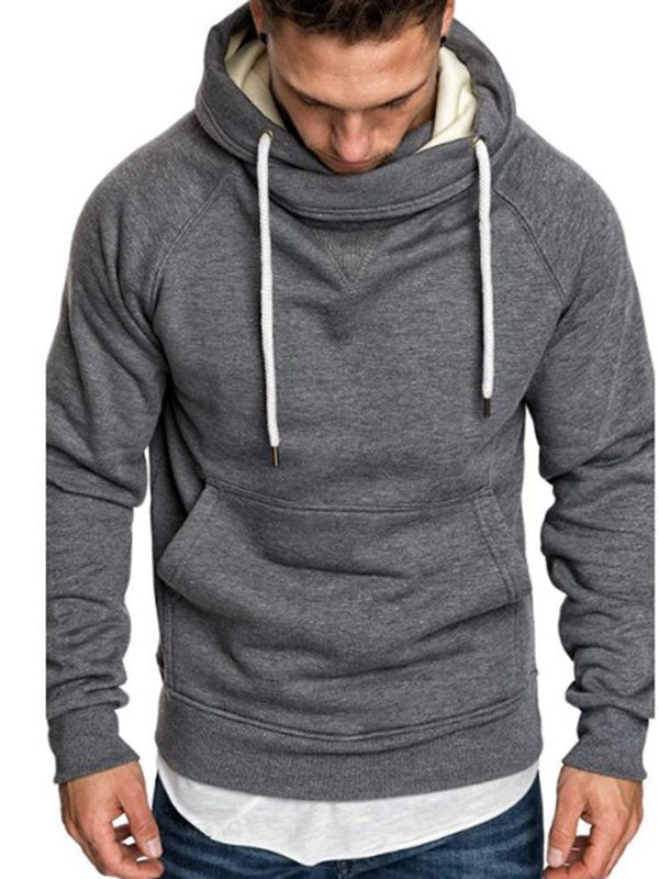 Pullover Patchwork Plain Loose Hooded Hoodies
