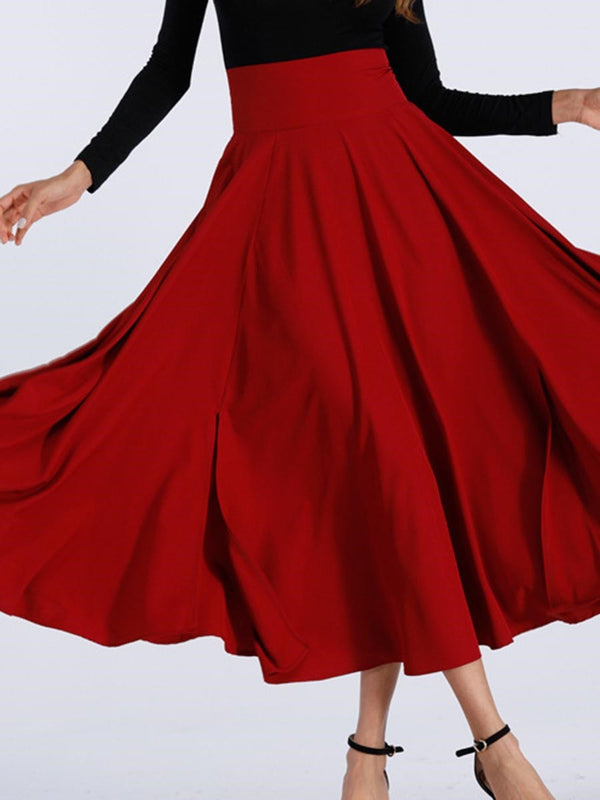 Mid-Calf Plain Expansion High Waist Casual Skirt