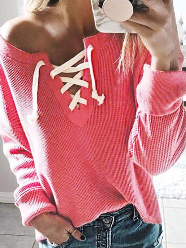 Thin Regular Lace-Up Long Sleeve Mid-Length Sweater