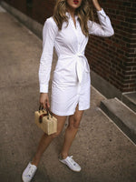 Split Nine Points Sleeve Lapel Plain Office Lady Dress