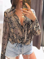 Print Lapel Regular Standard Long Sleeve Blouse