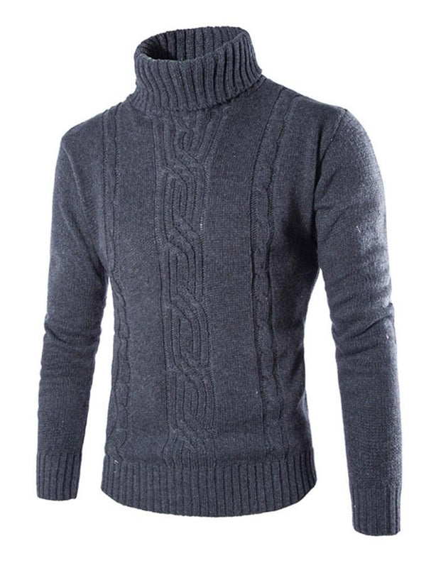 Standard Turtleneck Plain Casual Zipper Sweater