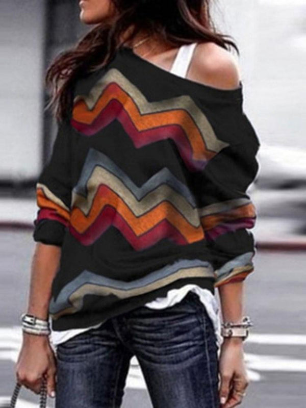 Print Mid-Length Long Sleeve Sweater