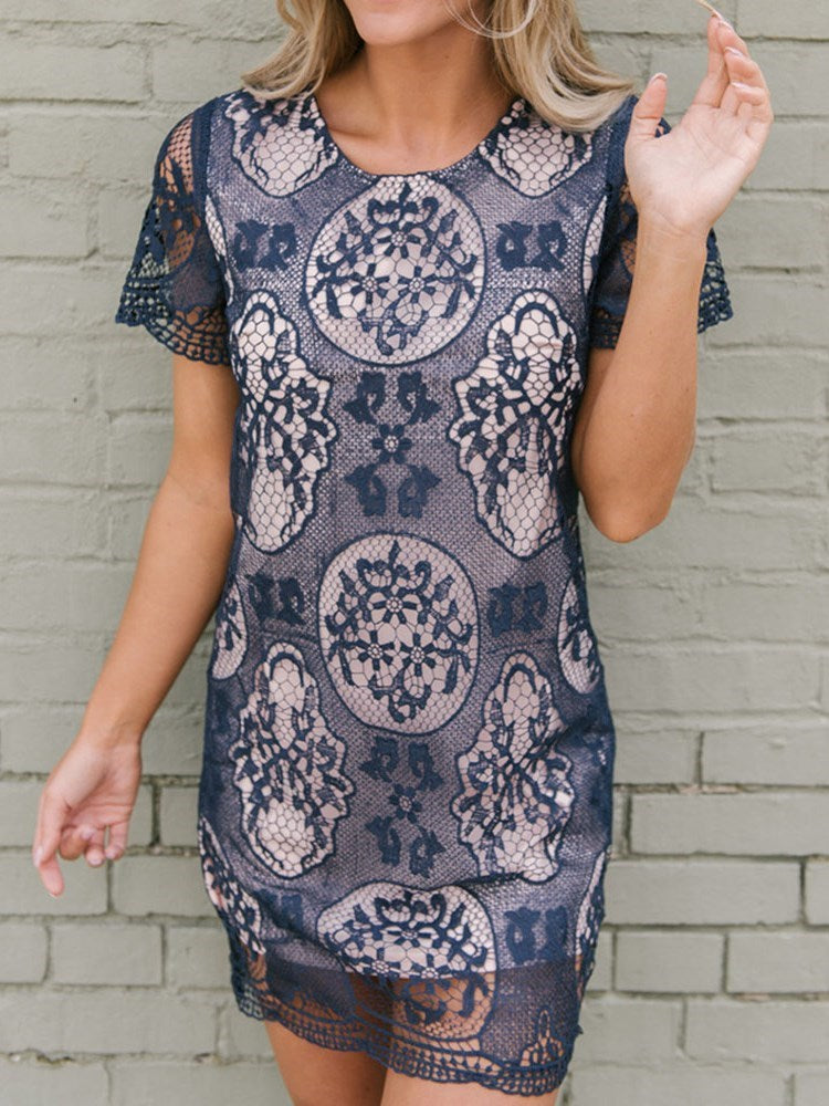 Short Sleeve Above Knee Hollow Geometric Pullover Dress