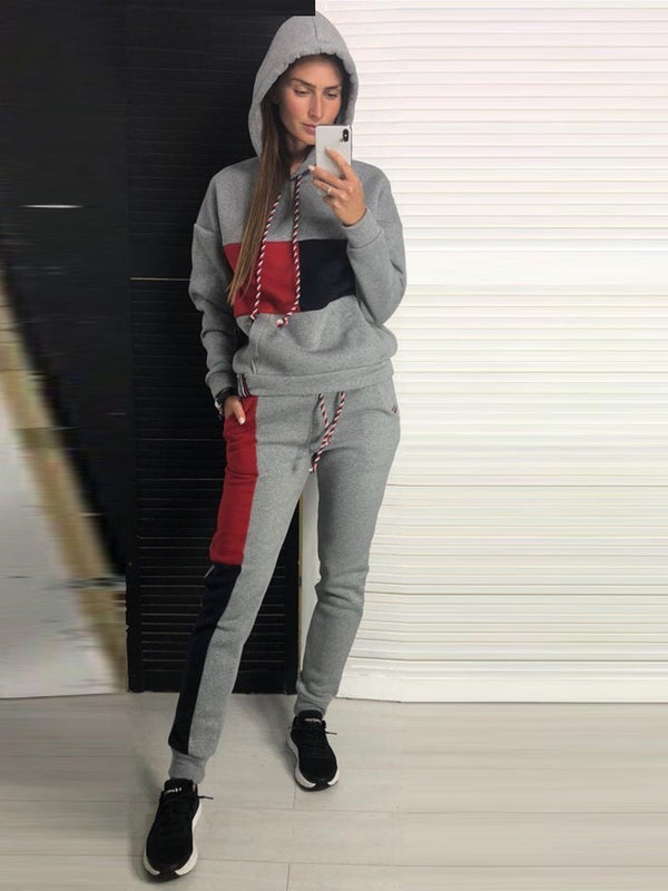 Pants Patchwork Color Block Hooded Pullover Two Piece Sets