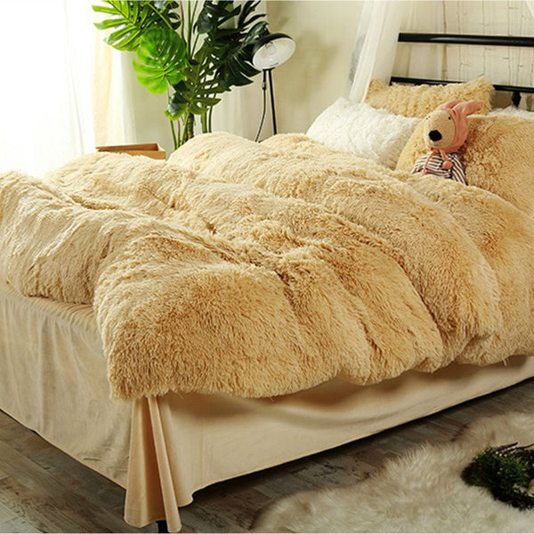 Piumino kaki super soft full size in peluche 4-Piece Fluffy Bedding Sets / Copripiumino
