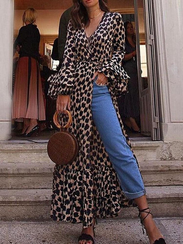 Split Long Sleeve Ankle-Length Flare Sleeve Leopard Dress