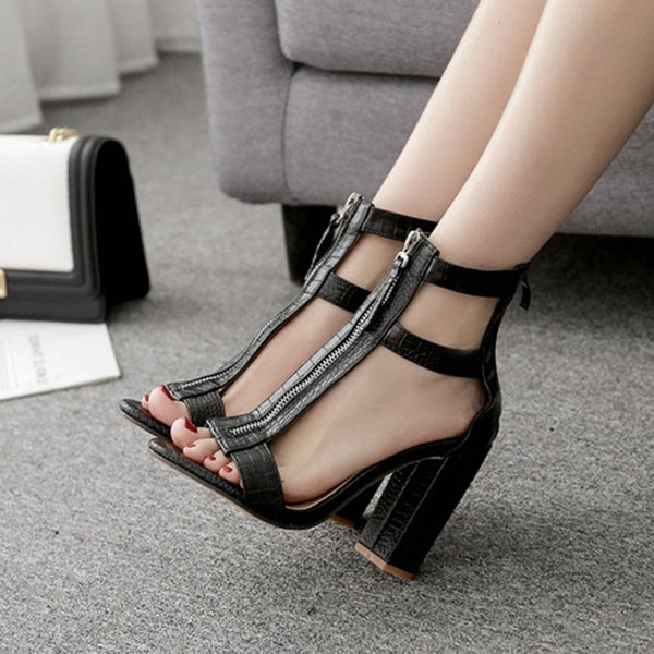 Zipper Heel Covering Chunky Heel Open Toe Plain Casual Sandals