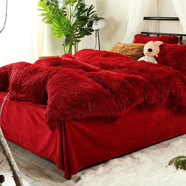 Piumino Super Soft Hot Red Plush 4-Piece Fluffy Bedding Sets / Copripiumino