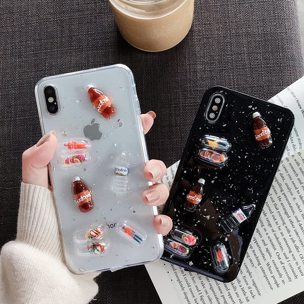 3D Drink Bottle Phone Capsule Funda para teléfono para iPhone XS MAX XR iPhone X 8 7 6S 6 Plus