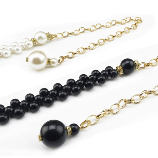 Fashion Elegant Women Imitation Pearl Belts Alloy Chain Belts Black White