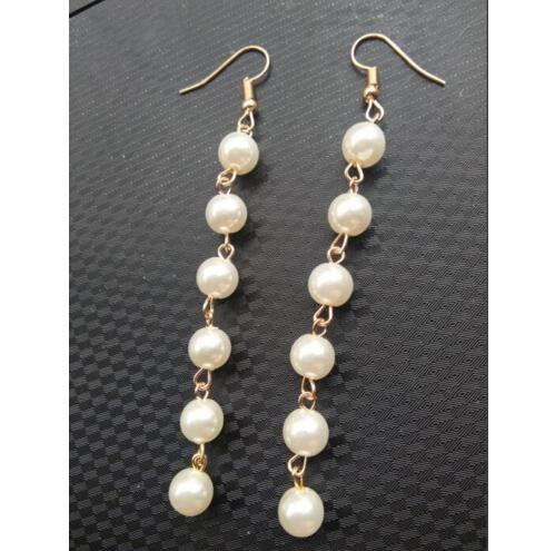 Fashion Bohemian pearl long section tassel female earrings
