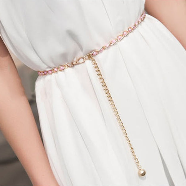 Fashion Imitation Pearl Beads Thin Waist Chain Belt 3 Colors