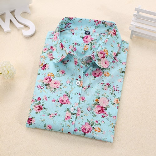 Women Summer Blouses Vintage Floral Blouse Long Sleeve Shirt