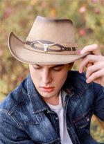 High Quality Leather Women's Men's Retro Bull Head Wide Brim Sun Beach Cowboy Cowgirl Western Hat (One Size 58cm)