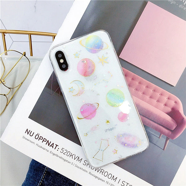 Estuche para iPhone XS XR XS Max X 5 5S 6 6S 7 8 Plus X Planet Star transparente