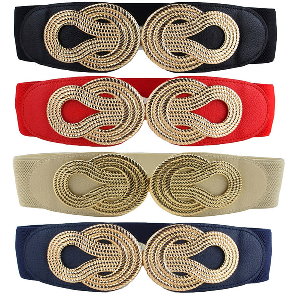 Women Vintage Chinese Knot Buckle Stretchy Belt
