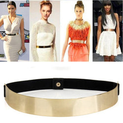 Elastic Mirror Metal Waist Belt Metallic Bling Plate Wide