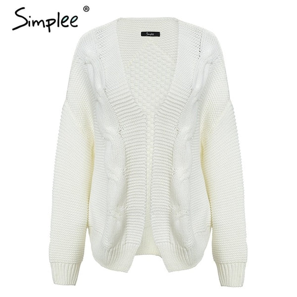 Simplee Elegant warm autumn winter sweater cardigan