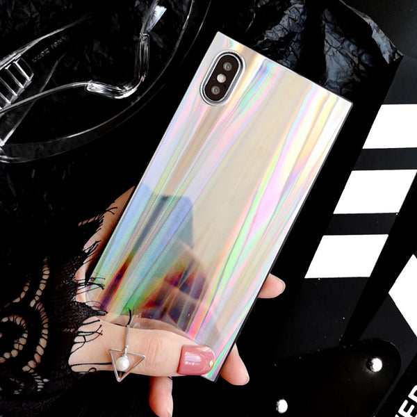 Laser Rainbow Shining Square Phone case For iPhone XS XR XS Max X 6 6S 7 8 Plus