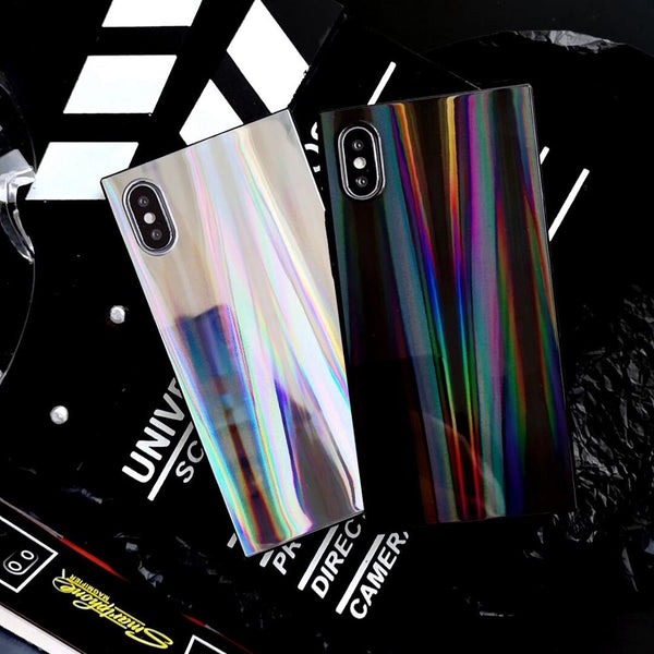 Coque Laser Rainbow Shining Square pour iPhone XS XR XS XR XS Max 6 6 7 Plus