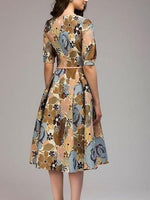 women autumn winter dress Hot sale Elegant Half sleeve quarter printing dress