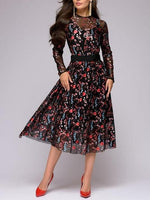 Sexy Women Floral Embroidery knee-length Dress